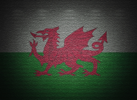 welsh flag: Welsh flag wall, abstract grunge background