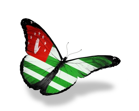 Abkhazia flag butterfly flying, isolated on white background photo