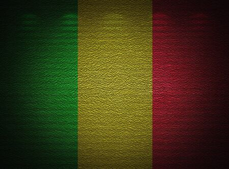 Mali flag wall, abstract grunge background photo