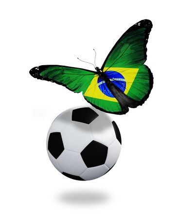 Concept - butterfly with Brazilian flag flying near the ball, like football team playing   photo