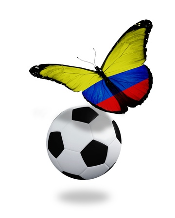 bandera de colombia: Concepto - mariposa con bandera colombiana que vuelan cerca de la pelota, al igual que equipo de fútbol jugando
