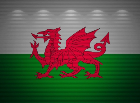 welsh flag: Welsh flag wall, abstract background Stock Photo