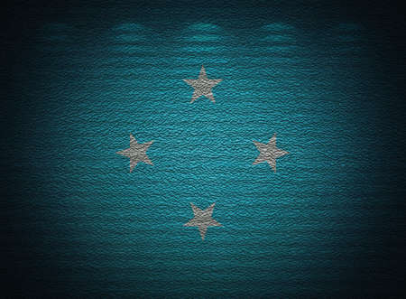 Micronesia flag wall, abstract grunge background photo