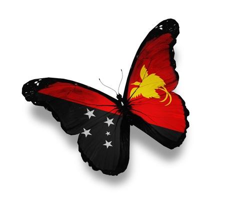 mariposas volando: Papua Nueva Guinea bandera de mariposa, aislado en blanco