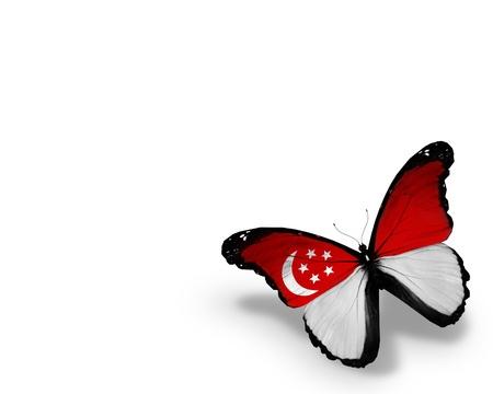 singaporean flag: Singaporean flag butterfly, isolated on white background Editorial