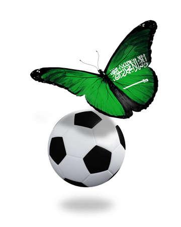 ball like: Concept - butterfly with Saudi Arabia flag flying near the ball, like football team playing