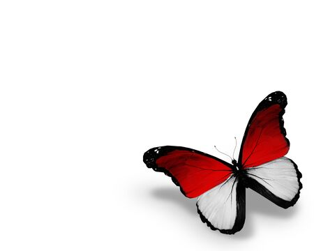 monegasque: Monegasque flag butterfly, isolated on white background