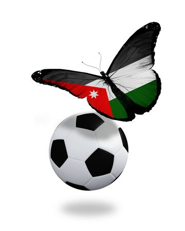 Concept - butterfly with  Jordanian flag flying near the ball, like football team playing   photo