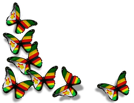 zimbabwe: Mariposas de Zimbabwe bandera, aisladas sobre fondo blanco
