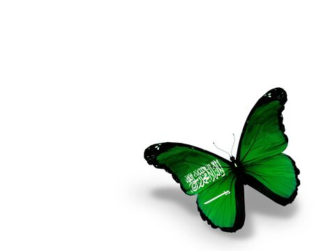 arab flags: Saudi Arabia flag butterfly, isolated on white background