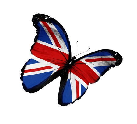 Bandeira Inglês borboleta voando, isolado no fundo branco Imagens