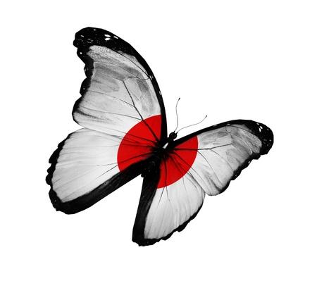 bandera japon: Jap�n Bandera de mariposa voladora, aisladas sobre fondo blanco