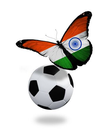 ball like: Concept - butterfly with  Indian flag flying near the ball, like football team playing
