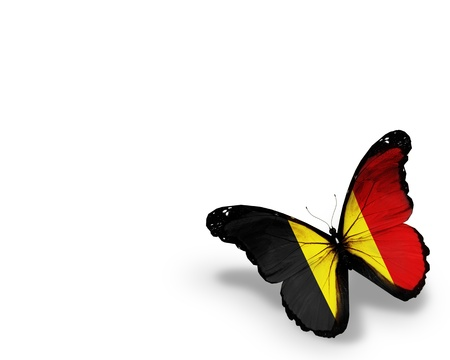 belgium flag: Belgian flag butterfly, isolated on white background