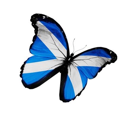 scottish flag: Scottish bandiera farfalla volare, isolato su sfondo bianco
