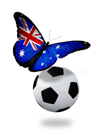 ball like: Concept - butterfly with Australian flag flying near the ball, like football team playing   Stock Photo