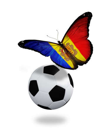 ball like: Concept - butterfly with Andorra flag flying near the ball, like football team playing
