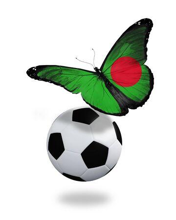 ball like: Concept - butterfly with Bangladesh flag flying near the ball, like football team playing