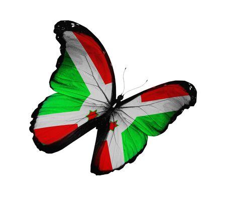 burundi: Burundi flag butterfly flying, isolated on white background