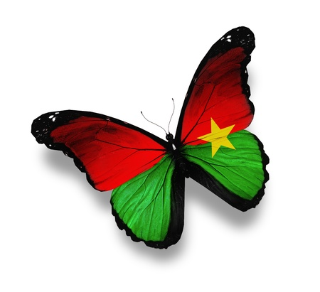 burkina faso: Burkina Faso flag butterfly, isolated on white