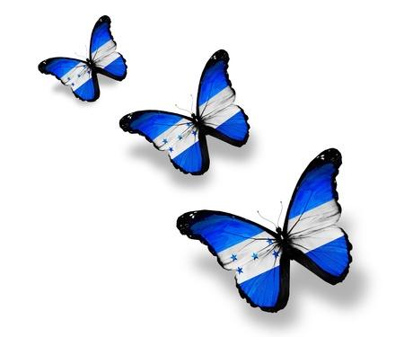 bandera de honduras: Tres mariposas bandera de Honduras, aislado en blanco Foto de archivo