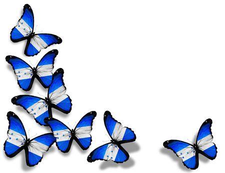 bandera de honduras: Mariposas de Honduras bandera, aisladas sobre fondo blanco