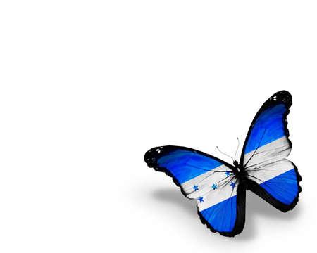 bandera honduras: Bandera de Honduras mariposa, aisladas sobre fondo blanco Foto de archivo