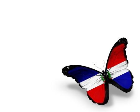 Dominikanische Republik Flagge Schmetterling, isoliert auf weißem Hintergrund
