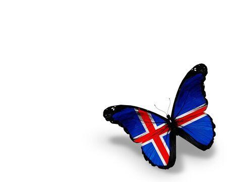 icelandic flag: Islandia bandera mariposa, aislado en fondo blanco Foto de archivo