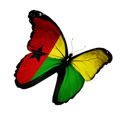 guinea bissau: Guinea-Bissau flag butterfly flying, isolated on white background