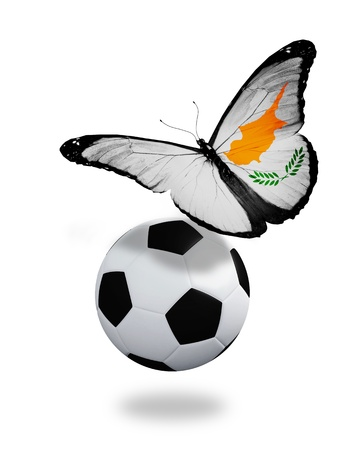 ball like: Concept - butterfly with Cyprian flag flying near the ball, like football team playing   Stock Photo