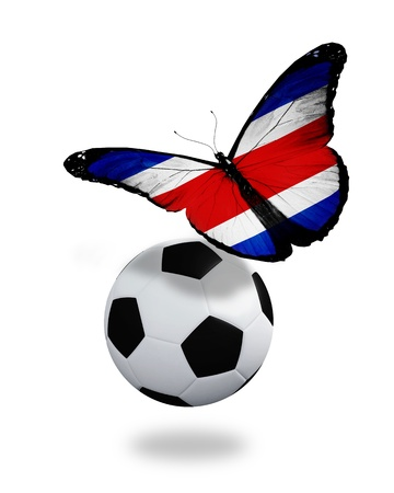 ball like: Concept - butterfly with Costa Rica flag flying near the ball, like football team playing