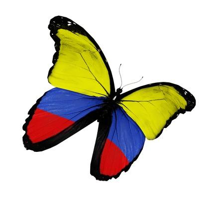 la bandera de colombia: Bandera colombiana mariposa volando, aislado sobre fondo blanco