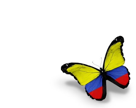 Colombia flag butterfly, isolated on white background photo