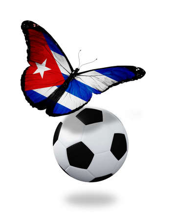 ball like: Concept - butterfly with Cuban flag flying near the ball, like football team playing