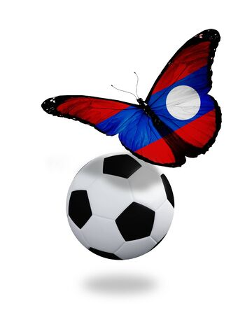 ball like: Concept - butterfly with Laotian flag flying near the ball, like football team playing   Stock Photo