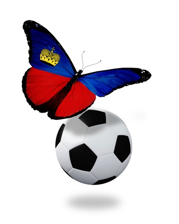 ball like: Concept - butterfly with Liechtenstein flag flying near the ball, like football team playing