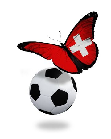 ball like: Concept - butterfly with Swiss flag flying near the ball, like football team playing   Stock Photo