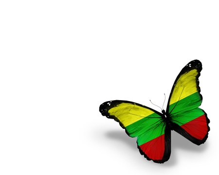 lithuania: Lithuanian flag butterfly, isolated on white background Stock Photo