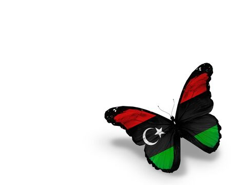 libyan: Libyan flag butterfly, isolated on white background