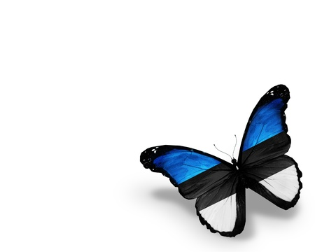 estonia: Estonian flag butterfly, isolated on white background