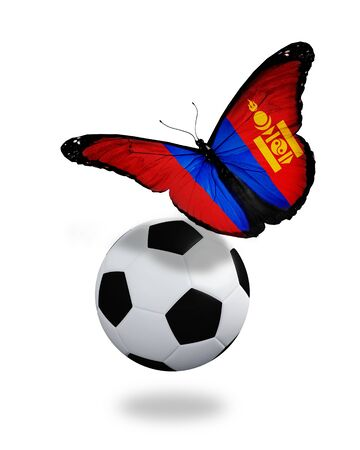ball like: Concept - butterfly with Mongolian flag flying near the ball, like football team playing