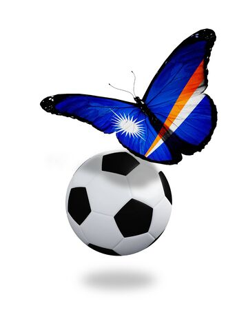 ball like: Concept - butterfly with Marshall Islands flag flying near the ball, like football team playing