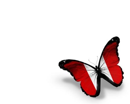 bandera peru: Mariposa bandera peruana, aislados en fondo blanco