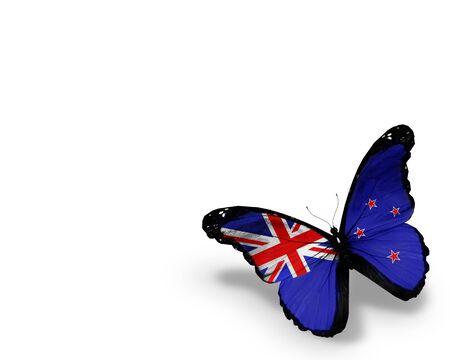 bandera de nueva zelanda: Nueva Zelanda bandera mariposa, aislado en fondo blanco Foto de archivo