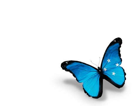 micronesia: 흰색 배경에 고립 된 미크로네시아 플래그 나비, 스톡 사진