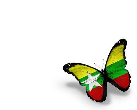 birma: Myanmar vlag vlinder, geïsoleerd op witte achtergrond