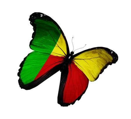 Benin flag butterfly flying, isolated on white background