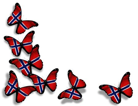 norwegian: Norwegian flag butterflies, isolated on white background