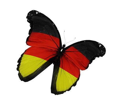 bandera alemania: Alem�n bandera mariposa volando, aislado sobre fondo blanco